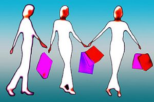 female figures shopping bags