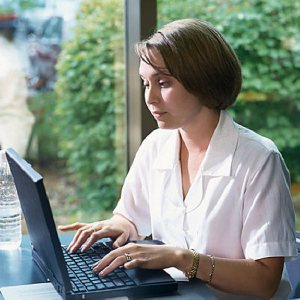 woman using computer