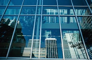 glass fronted office building