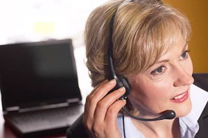 business woman on a telephone headset