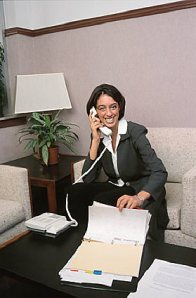 business woman making telephone calls
