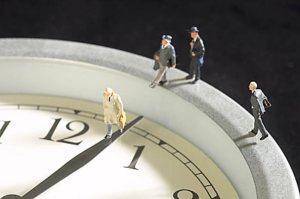 people walking on clock