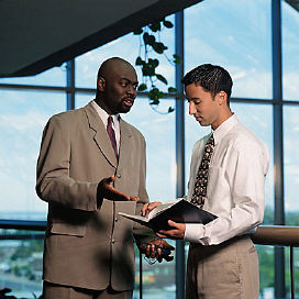 commercial real estate agent talking to tenant