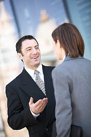 business man in meeting with lady