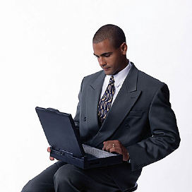 real estate agent using laptop computer