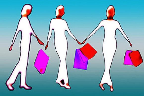 Female figures with shopping bags uid 1460952