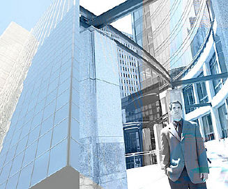Businessman standing in blue and gray cityscape uid 1460546