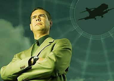 Mature adult businessman with airplane uid 1426629